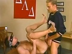 Blindfold twink pounded and jizzed