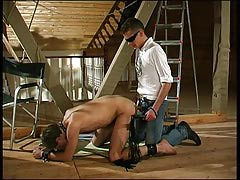 Kinky males play BDSM at the attic with a slave-guy ass and mouth drilled