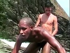 White twink pounds black by the sea