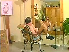 Hunk jerks off when his lover comes and takes care