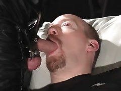 Fellatio bear rob benefits from sperm on his neatly trimmed goatee in 3 clip