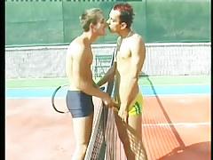 Perspired homosexual guys bone beside a tennis court in 1 video