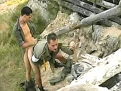 Military twinks fuck n cum outdoors