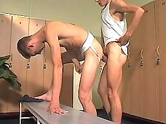 College gay boy drills twink in checkroom