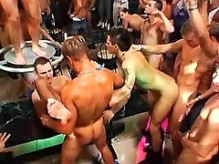 Numerous gays fucks tight holes in group