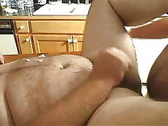 Horny mature gay cums on table
