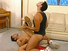 Mature gay drills cute twink on floor