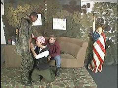 Black army boy spoils two twinks