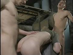 Dirty twinks fuck bareback in threesome