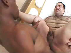 Ebony stud drills hairy males asshole