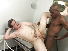 Ebony gay drills tight males asshole