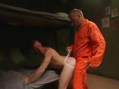 Horny prisoner drills amateur guy