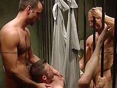 Horny prisoners share amateur guy