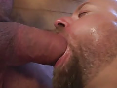 Lusty hairy dilf deep throats big cock in shower