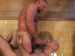 Bear gay swallows hot sperm in shower