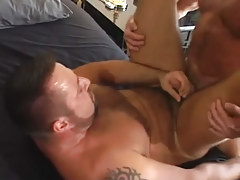 Mature bear gay cums with cock in his asshole