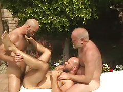 Old and mature gays share hairy dilf by pool