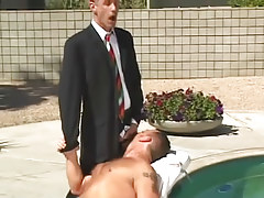 Horny gay boss spoils hairy man by pool