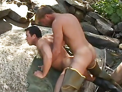 Gay fisherman hard fucks hunk behind in nature