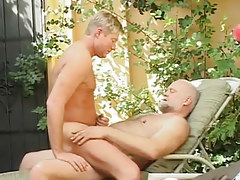 Horny man crazy jumps on old cock of bear gay
