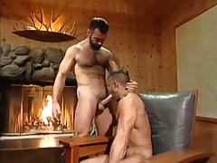Hot bear man sucked by fireplace