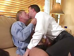 Horny mature gays kiss and make blowjob