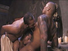 Black tattooed gay sucked by eastern studs in group