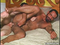 Bear gay gets real anal fuck in bed