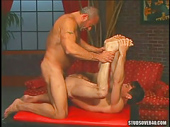 Hairy dilf fucked by old gay