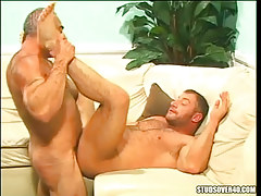 Hairy gay ducked by silver daddy
