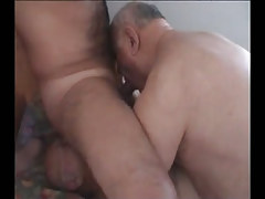 Hairy man sucked and licked by old gays