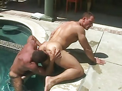 Mature muscle gay licks elastic guys ass in pool