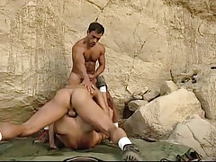 Hairy gays suck and fuck in mountains