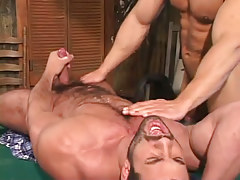 Bear gay dilf cums on billiard table