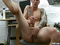 Lusty guy plays with cock and fingering asshole