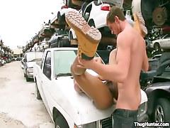 Ebony coed gets deep anal on car